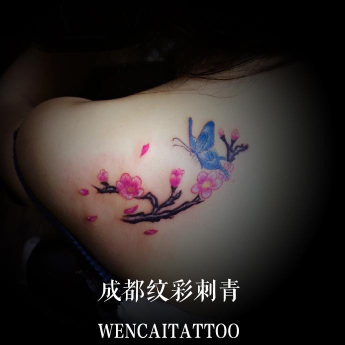 性感的朱小姐后背梅花蝴蝶纹身