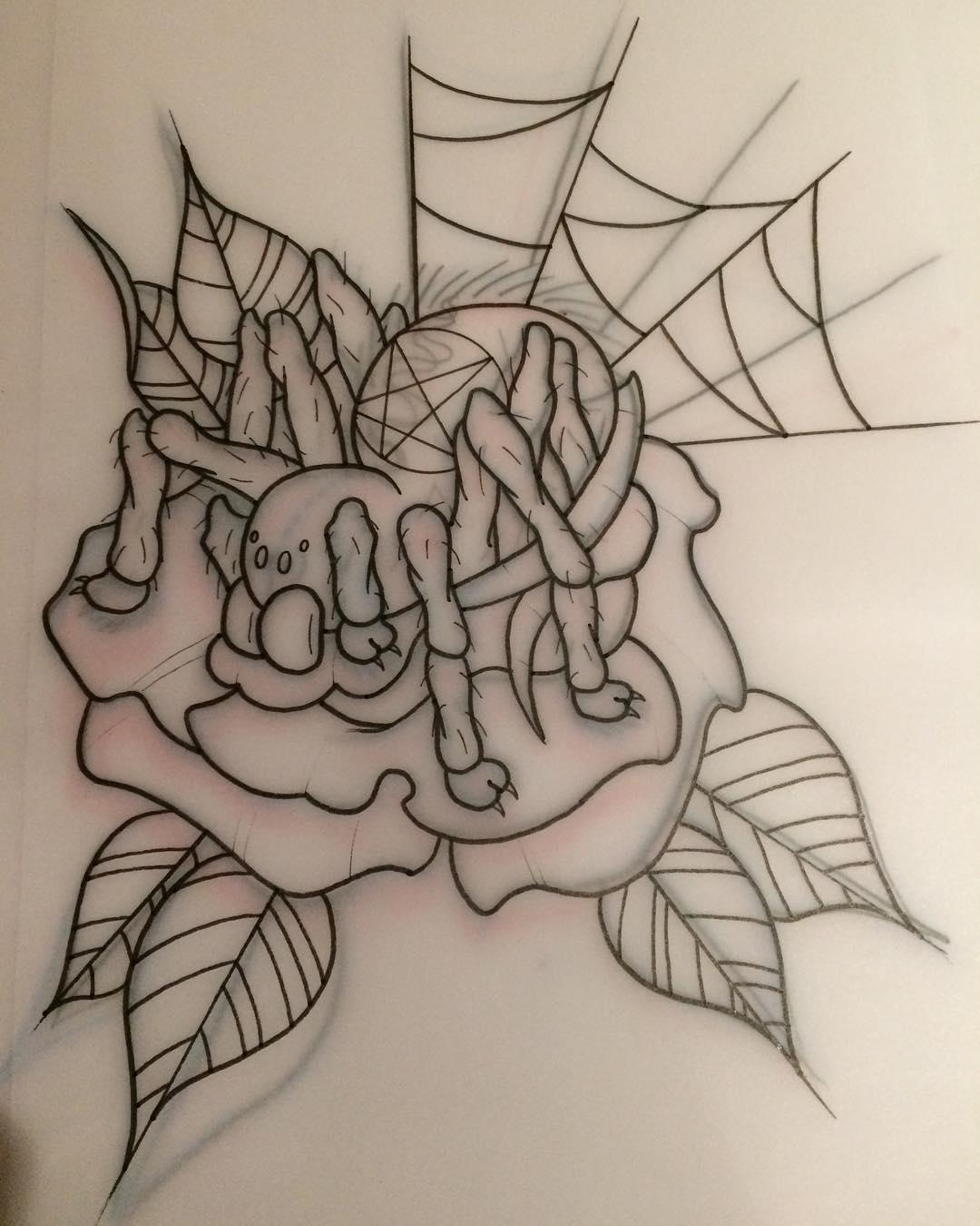 搞建材的许先生蜘蛛玫瑰纹身手稿图片