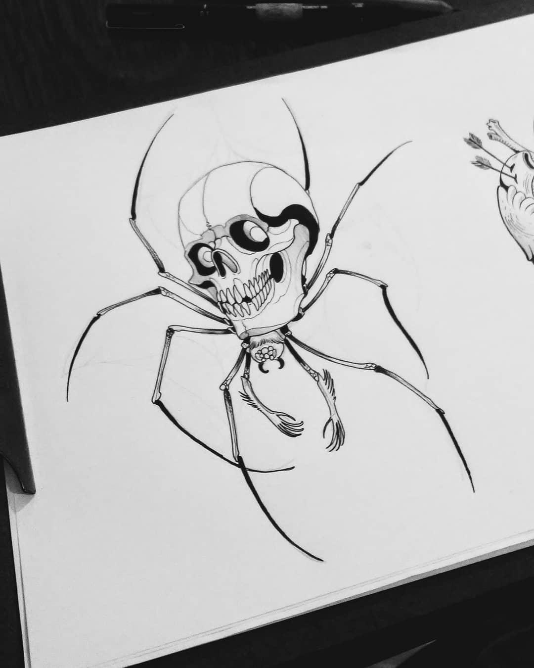 骷髅蜘蛛纹身手稿