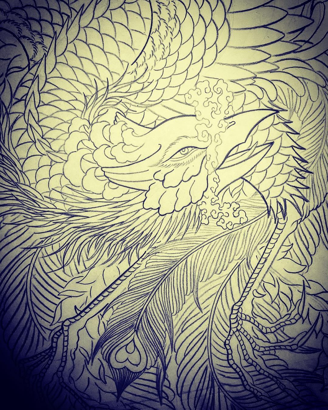 凤凰纹身手稿