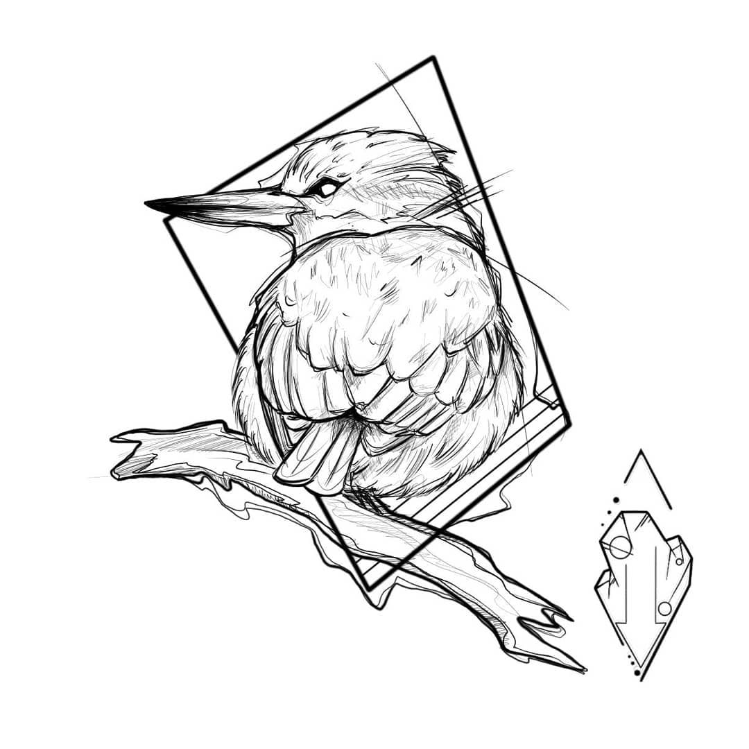 几何图形长嘴鸟纹身手稿